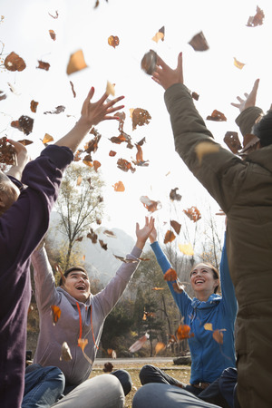 Group of young people throwing leaves  Imagens