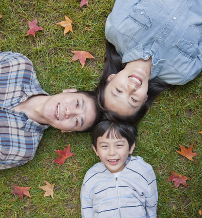directly above: Family portrait on the grass, directly above Stock Photo