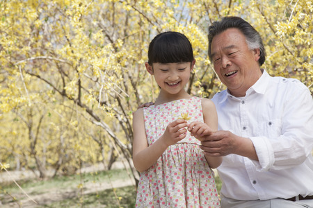 some under 18: Smiling girl and her grandfather looking at a flower in the park in springtime Stock Photo