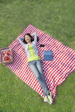 arms behind head: Smiling young woman lying on her back with arms behind her head on a blanket and relaxing in the park