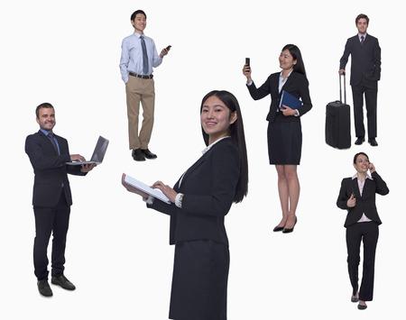 Group of business people working, talking on phone, walking, studio shot, full length photo