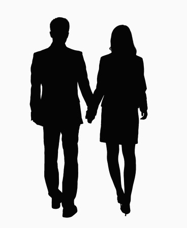 above 21: Silhouette of businessman and businesswoman holding hands.
