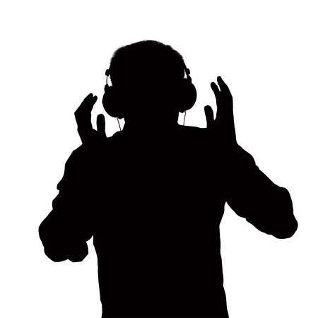 front raise: Silhouette of man listening to headphones.