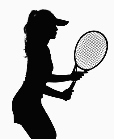 above 21: Silhouette of woman with tennis racket.