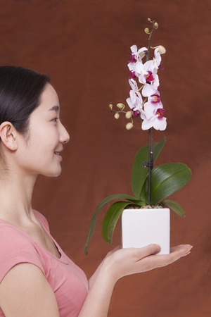 above 21: Side view of young woman holding a flower in a flower pot, studio shot