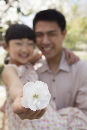 some under 18: Daughter holding a cherry blossom close to the camera with her father in the park in springtime Stock Photo