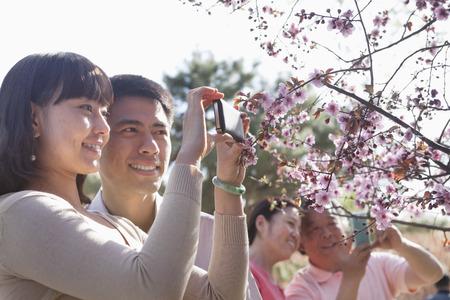 春の公園で桜の花のついた枝の写真を持ち出し笑顔のカップル