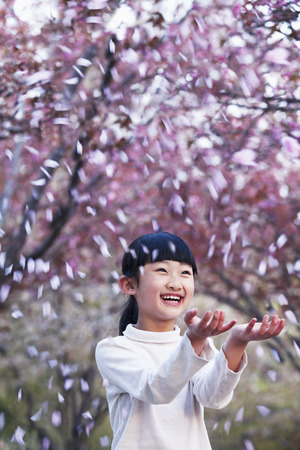 all under 18: Happy young girl throwing cherry blossom petals in the air outside in a park in springtime Stock Photo