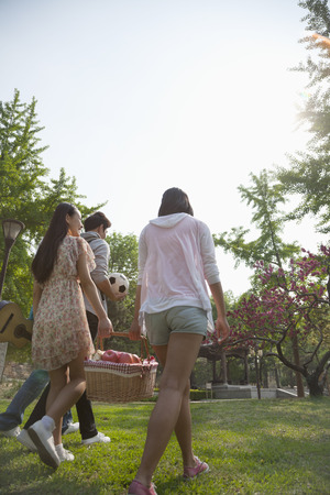 Four friends walking into a park to have a picnic on a spring day, carrying a picnic basket and a soccer ball
