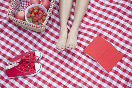 Young womans feet on a checkered blanket with a picnic basket, shoes, and a book