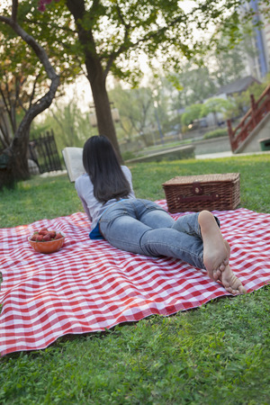 above 18: Young woman lying on her stomach on a checkered blanket and reading in the park, having a picnic
