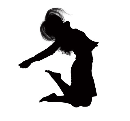 above 21: Silhouette of businesswoman jumping, mid-air. Stock Photo