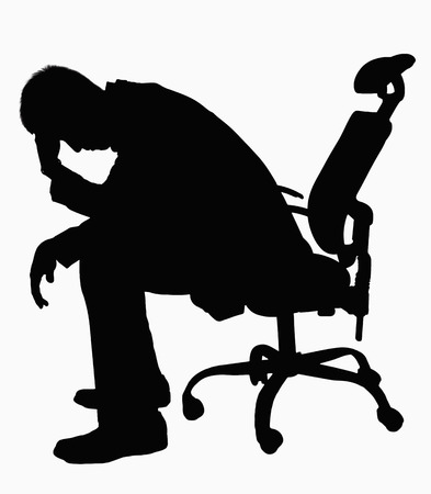 above 25: Silhouette of businessman sitting with hand on his head.