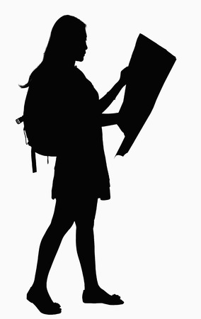 above 21: Silhouette of woman looking at map.