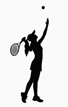 above 21: Silhouette of woman with tennis racket, serving.