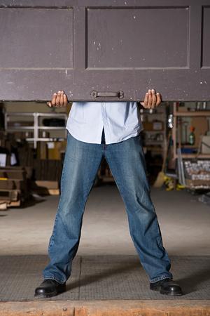 1 adult only: Opening warehouse door