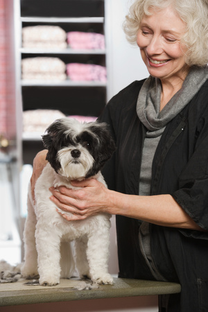 pooches: Woman and dog at pet grooming salon