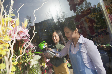 selling service smile: Florist Working In Flower Shop