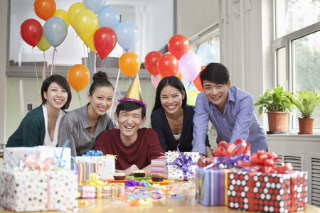 office party: Happy Business People at Office Party Stock Photo