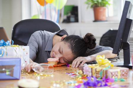 Female Asleep After Party at Office photo