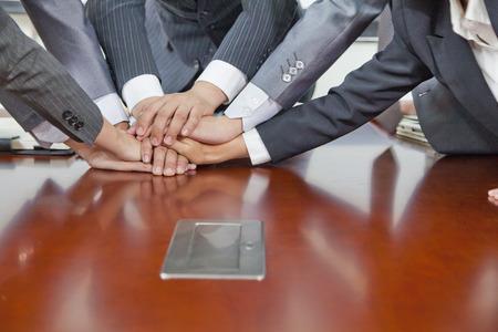 Businesspeople Hand pile  Stock Photo
