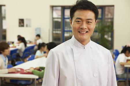 school cafeteria: Chef portrait in school cafeteria