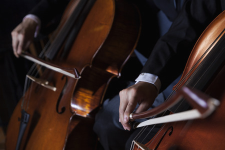 above 18: Close-up of midsection of two cellists playing the cello during a performance