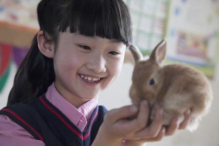 all under 18: Schoolgirl holding pet rabbit in classroom
