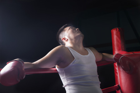 above 30: Tired boxer resting on the ropes in boxing ring, looking up