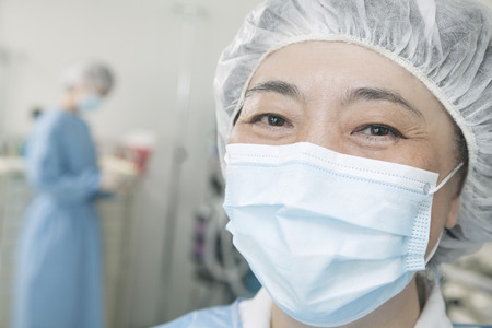 Portrait of surgeon with surgical mask and surgical cap in the operating room  photo