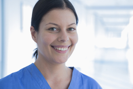 above 30: Portrait of smiling female nurse in the hospital, Beijing, China Stock Photo