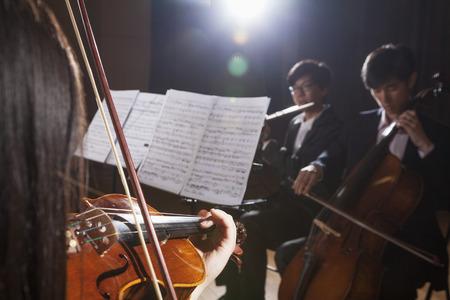 violinista: Violinista y otros m�sicos tocando durante una actuaci�n, destello de lente Foto de archivo