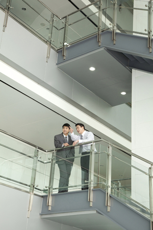steps and staircases: Businessmen Discussing and Pointing on Stairway