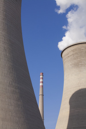 cooling towers: Power Plant Cooling Towers Stock Photo