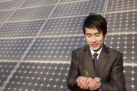 Businessman cupping plant in front of solar panel Stock Photo