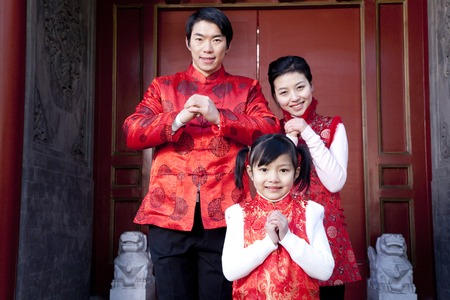 two generation family: Family Celebrates Chinese New Year