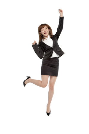 full shot: A jumping woman Stock Photo