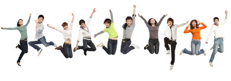 A group of business people jumping