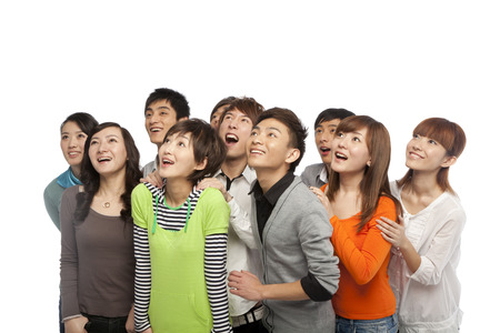 excitement: A group of young people looking up in excitement Stock Photo