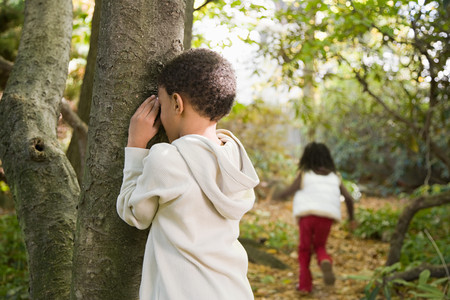 seek: Children playing hide and seek