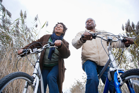 heterosexual couple: One couple cycling