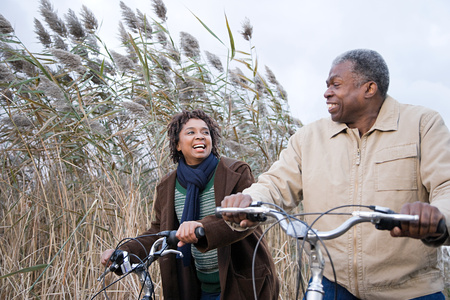 active seniors: the couple cycling Stock Photo