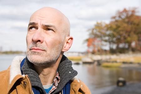 Head and shoulders of a bald man Archivio Fotografico