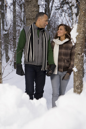 british ethnicity: A mature couple walking through snow
