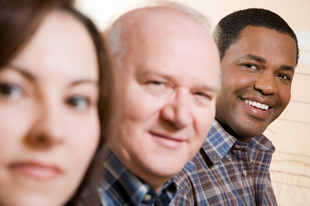 african american ethnicity: Faces of people in a row Stock Photo