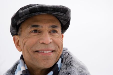 flat cap: Portrait of a man wearing a flat cap Stock Photo