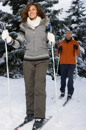 british ethnicity: A mature couple skiing