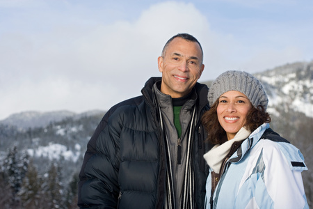 mixed couple: Portrait of a mature couple