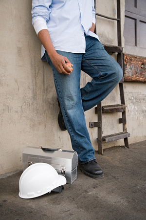 tradespeople: Workman taking a break Stock Photo