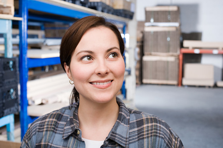 factory: Woman in warehouse